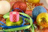 Christmas Ball, New Year Invitation Card, Bow And Ribbon