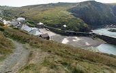 Mullion Cove village Cornwall UK the Lizard peninsula Mounts Bay near Helston