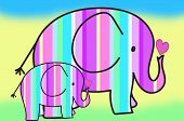 Pastel Colors Stripes Elephants