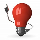 red Tungsten Light Bulb Character In Moment Of Insight