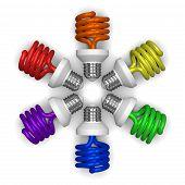 colored Spiral Light Bulbs Lying Radially
