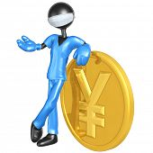 3D Doctor Character With Yen Coin
