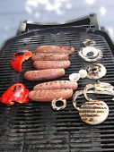 Grilled Sausages, Onion And Peppers