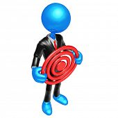 3D Businessman Character Holding A Target