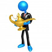 3D Character Businessman With Magic Lamp