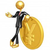 Gold Guy Businessman With Yen Coin