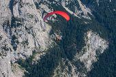 image of parachute  - Extreme parachuting in high mountains Alps Austria - JPG