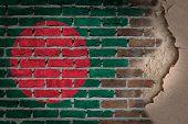 image of bangladesh  - Dark brick wall texture with plaster  - JPG