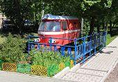 Old children's railway locomotive. Gorky Park
