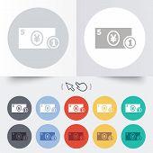 Cash sign icon. Yen Money symbol. Coin.