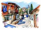 original watercolor painting on paper of old street of Gurzuf