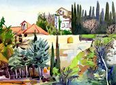 picture of tree house  - original watercolor landscape with trees and houses - JPG