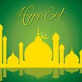 pic of kaba  - vector illustration of Creative Eid greeting card - JPG