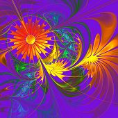 Flower Background. Orange And Indigo Palette. Fractal Design. Computer Generated Graphics.