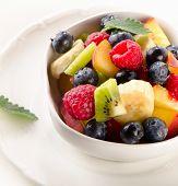 image of fruit bowl  - Fresh healthy fruit salad in a white bowl - JPG