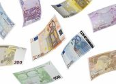 Euro Bill Collage Isolated On White