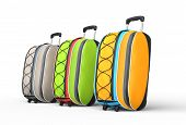Travel baggage suitcases on white background - side view