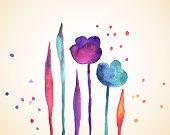 foto of wet  - Watercolor flowers - JPG