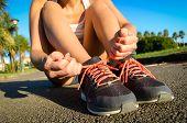 Female Athlete Lacing Running Footwear