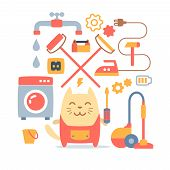 Character Home Handyman In Uniform Colorful Flat Composition Of