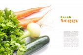 Fresh Vegetables, Herbs  And Roots Isolated On White Background