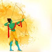foto of navratri  - easy to edit vector illustration of Lord Rama with bow and arrow - JPG