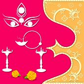 stock photo of navratri  - easy to edit vector illustration of face of Goddess Durga for Happy Navratri - JPG