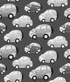 Texture With Cute Monochrome Cartoon Car With The Headlights In A Cartoon Style.