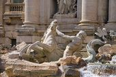 Detail Of Trevi Fountain In Rome, Italy