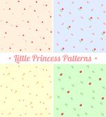 Set of cute seamless patterns for little princess.