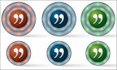 Set Of Six Icons With Quotation Mark