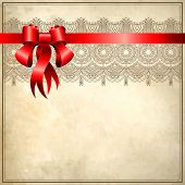 Holiday floral background with red ribbon, EPS10