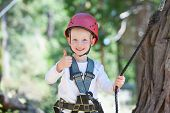 picture of excite  - excited little boy enjoying climbing at adventure park - JPG