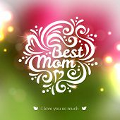 Best Mom lettering Greeting Card.