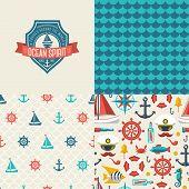 Seamless patterns of marine symbols and label.