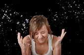 Teen Girl Washing Her Face With Water