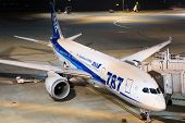 Ana All Nippon Airways Boeing 787 Dreamliner Tokyo Haneda Airport At Night