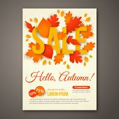 Autumn Sale flyer design with colorful leaves.