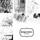 Big collection of grunge textures isolated on white.