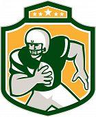 American Football Qb Player Running Shield Retro