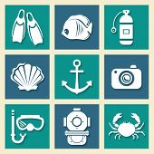 Sea symbols icons et
