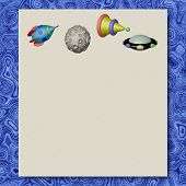 Space Objects Writing Paper Marble Texture Background
