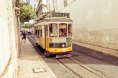 Traditional Yellow Tram Downtown Lisbon