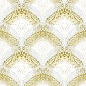 image of bohemian  - White geometric texture in art deco style with scaled ornament made of silver and gold dots for Christmas and holiday decor or wedding invitation background - JPG