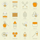 foto of honey bee hive  - Bee honey icons flat line set with beehive spoon jar isolated vector illustration - JPG