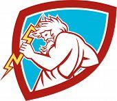 Zeus Wielding Thunderbolt Shield Retro