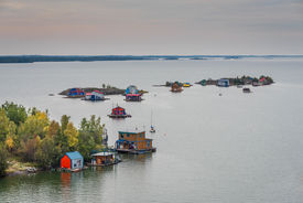 stock photo of slave-house  - A panoramic view of the Great Slave Lake in Yellowknife, Northwest Territories in Canada. ** Note: Soft Focus at 100%, best at smaller sizes - JPG