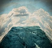 a room made out of water and clouds toned with a retro vintage instagram filter effect