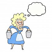 stock photo of milkmaid  - cartoon milkmaid carrying buckets with thought bubble - JPG