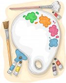 picture of paint palette  - Illustration of a Paint Palette Surrounded by Paintbrushes and Tubes of Paint - JPG